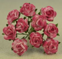 1 cm CERISE PINK Mulberry Paper Roses